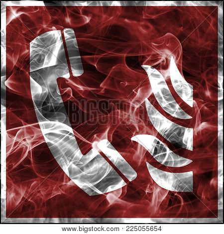 Emergency smoke symbols for firefighting equipment. Standard fire safety sign for fire emergency telephone