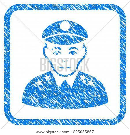 Army General rubber seal stamp imitation. Icon vector symbol with grunge design and corrosion texture in rounded frame. Scratched blue emblem on a white background.