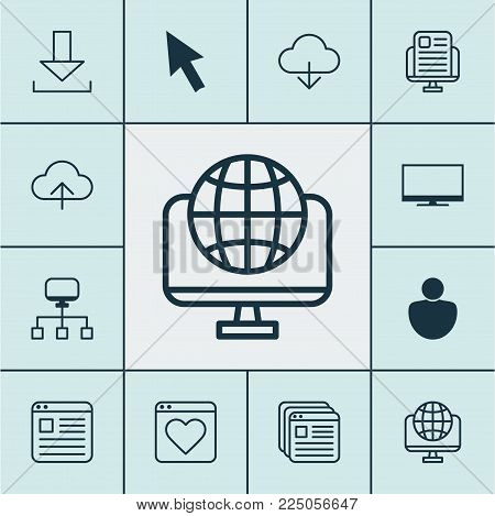 Internet icons set with cloud, tabs, news website and other website elements. Isolated vector illustration internet icons.