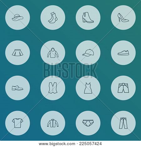 Garment icons line style set with jacket, cap, hoodie and other mini elements. Isolated vector illustration garment icons.