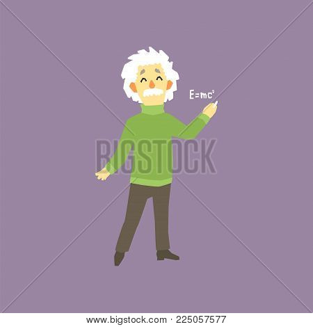Funny full-length portrait of Albert Einstein. Famous male theoretical physicists in the world. E mc2. Cartoon man character with gray hair and mustache. Isolated vector illustration in flat style.
