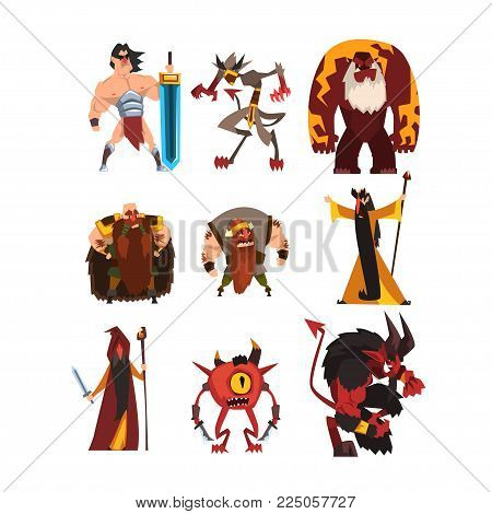 Collection with different fantasy game characters. Cartoon sorcerer, warrior, viking, giant, demon, cyclope, magician. Colorful vector design. Illustration in flat style isolated on white background.