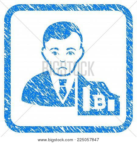Bitcoin Trader rubber seal stamp watermark. Icon vector symbol with grunge design and unclean texture inside rounded square frame. Scratched blue sticker on a white background.