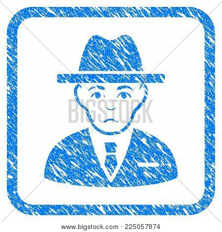 Agent rubber seal stamp watermark. Icon vector symbol with grunge design and dirty texture in rounded square. Scratched blue sticker on a white background.