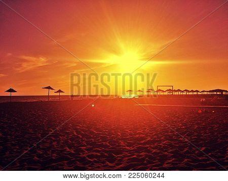 Beautiful sunset. Amazing beach, Ada Bojana, Montenegro. Place to relax and enjoy