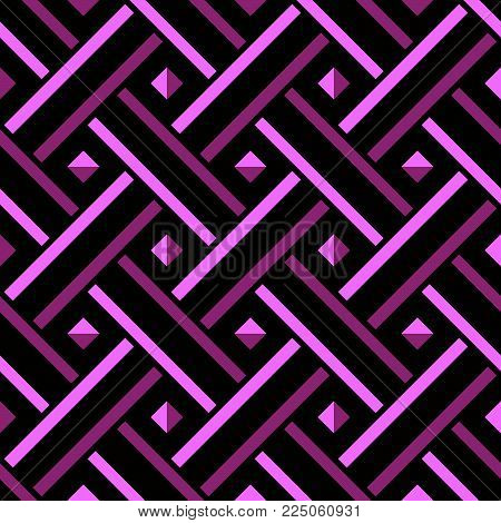 Abstract vector seamless geometric pattern of interlaced lines