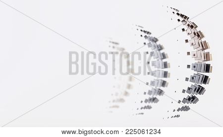 3D rendering. Squares and rectangles. Geometric three-dimensional elements are arranged in the form of a Crescent. Creative background for your design. Part of the image blurred.