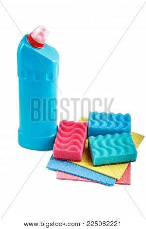 Detergent and washcloth on white background, isolated, Set of cleanliness