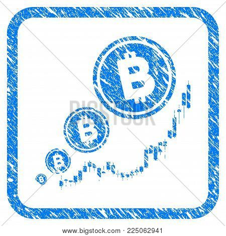 Bitcoin Inflation Chart rubber seal stamp imitation. Icon vector symbol with grunge design and unclean texture in rounded square frame. Scratched blue emblem on a white background.