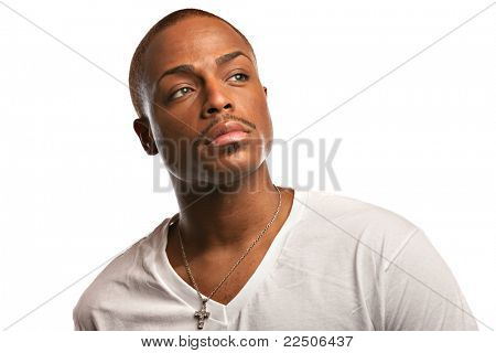 Natural Looking Young African American Male Model on Isolated Background