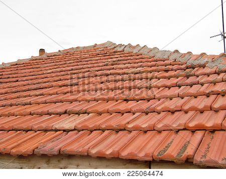 roof tiles, flat roof tiles in the house roof,
