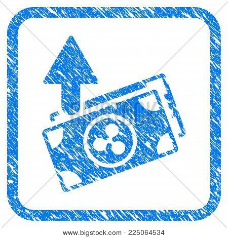 Ripple Expences Banknotes rubber seal stamp imitation. Icon vector symbol with grunge design and unclean texture in rounded frame. Scratched blue sticker on a white background.