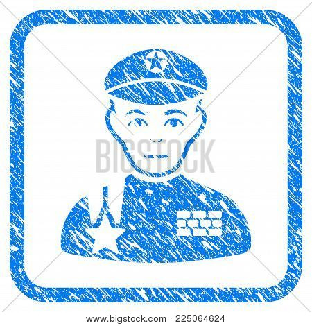 Army General rubber seal stamp watermark. Icon vector symbol with grunge design and dust texture in rounded squared frame. Scratched blue emblem on a white background.