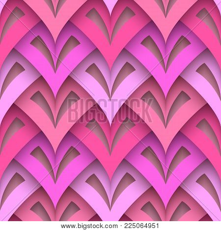 Cutout paper texture, abstract geometric seamless pattern in pink colors