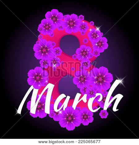 Greeting Card With Number Eight Consisting Of Flowers To 8 March Holiday - International Women's Day