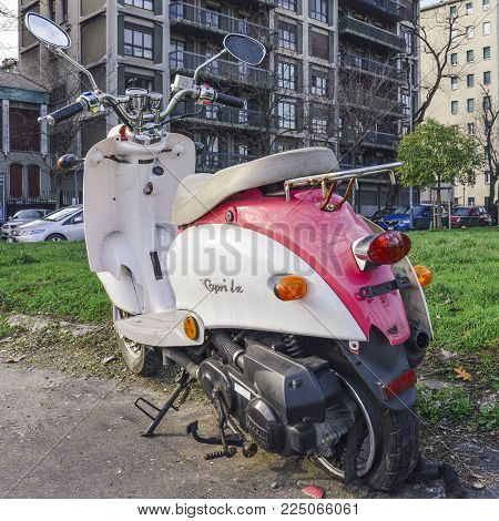 Milan, Italy - Feb 4, 2018: Broken Capri L X scooter on the side of the road in Milan, Italy