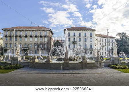 Fountain of the Four Seasons in Piazza Giulio Cesare, Milan, Italy