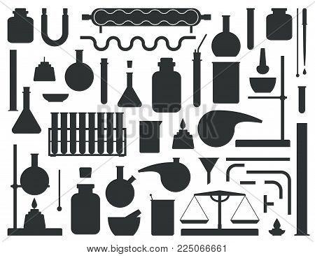 Set of chemical lab equipment silhouette. Laboratory Constructor kit. Vector illustration.