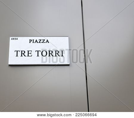 Milan, Italy - Feb 4, 2018: Piazza Tre Torri is a nice business and residential complex in the Tre Torri District of Milan, Italy
