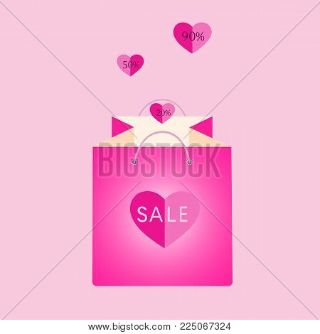 Pink Shopping Bag With Flying Hearts Buying Giving Gift Present Surprise