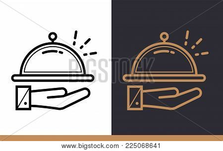 Outline icon Room service. Hotel services. Material design icon suitable for print, website and presentation