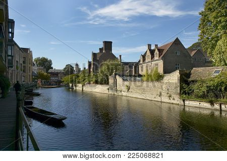 Punts On River Cam Cambridge England