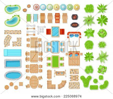 Landscape elements top view. Elements of composition viewing a space of living area, landscape design and architecture. Vector flat style cartoon illustration isolated on white background