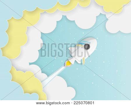 Paper art of space shuttle launch to the sky. Blue sky, shining stars, fluffy clouds. Rocket launch. Start up business concept and exploration idea