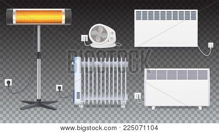 Electric oil radiator, heater with fan, panel of radiator, quartz halogen heater with the glowing lamp. Appliances for space heating in the interior of room. Set icons of on transparent background.