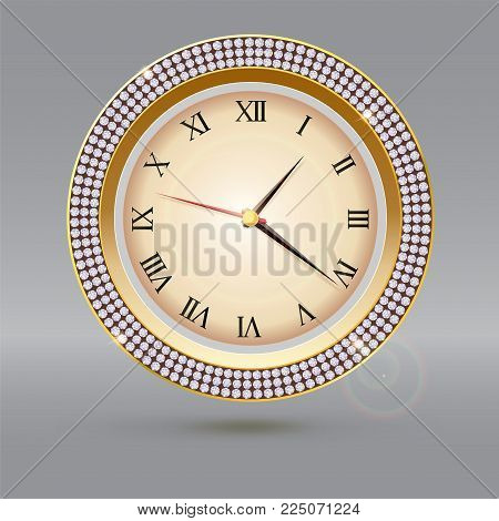 Clock with diamonds and Roman numerals. Icon of luxury watch, jewelry decoration with dial and arrows.