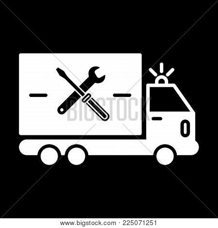 repair sign of auto service with truck and spanner silhouette. Vector icon. Flat solid icon isolated on black. Eps 10.