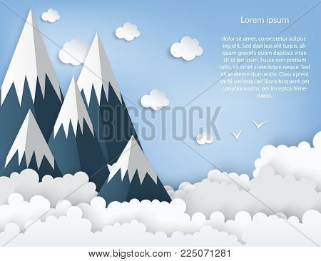 Paper art origami mountains with snow, white fluffy clouds, blue sky, birds. Landscape with high mountains. Illustration of nature landscape and concept of travelling.