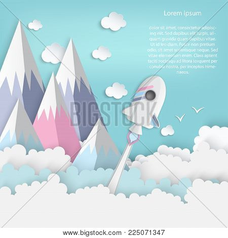 Paper art of space shuttle launch to the sky. Blue sky, high mountains, fluffy clouds. Rocket launch. Start up business concept and exploration idea