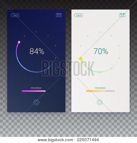 Progress of load for mobile apps, web preloader on transparent background. Load, update or download diagram icon of progress bar, minimal flat design with percentage of progress, 3D illustration.
