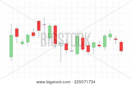 Business candle stick graph chart of stock market on white background .