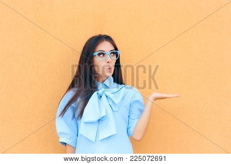 Funny Beautiful Surprised Woman Holding Her Hand up for Presentation