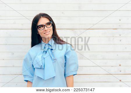 Beautiful Elegant Fashion Woman Wearing Cat Eye Eyeglasses