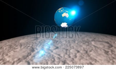 Abstract 3d Rendering Background With The Rotation Of The Earth And Flare. View From The Moon. 3d Re