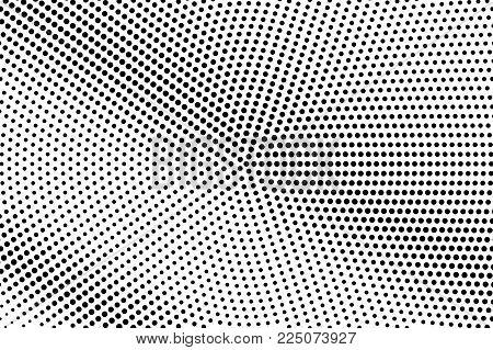 Black White Dotted Halftone Vector Background. Grunge Dotted Gradient. Monochrome Halftone Pop Art D