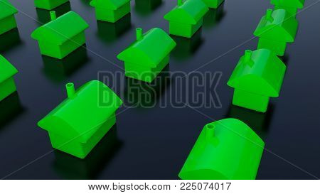 Row Of Houses, For Real Estate. 3d Rendering