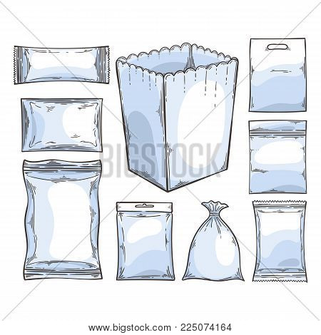 Big set of empty plastic and paper packaging. Vector elements collection