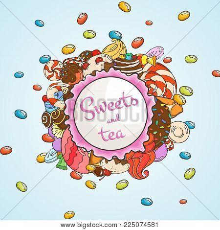 Label sweet shop. Swirl candy, chocolate, lollipop, caramel, cream. Vector illustration.