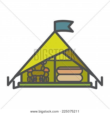 Tent icon, flat vector illustration isolated on white background. Shelter for rest at forest while camping, trekking and hiking