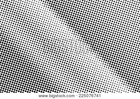 Black White Dotted Halftone Vector Background. Dark Rough Dotted Gradient. Minimalistic Halftone Pop