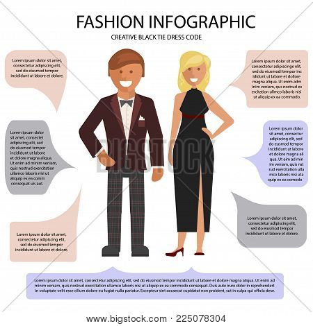 Creative Black Tie dress code infographic. Man and woman isolated on white background with speech bubbles. Vector illustration of people in formal clothes.