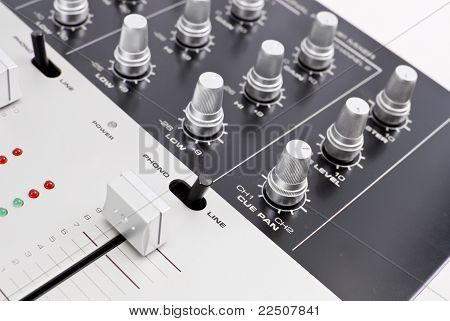 Professional channel mixer preamp with various knobs and switches poster