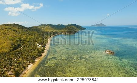 Aerial view Beautiful tropical island Busuanga with sand beach, palm trees. Tropical landscape: beach with palm trees. Seascape: Ocean, sky, sea. Travel concept.