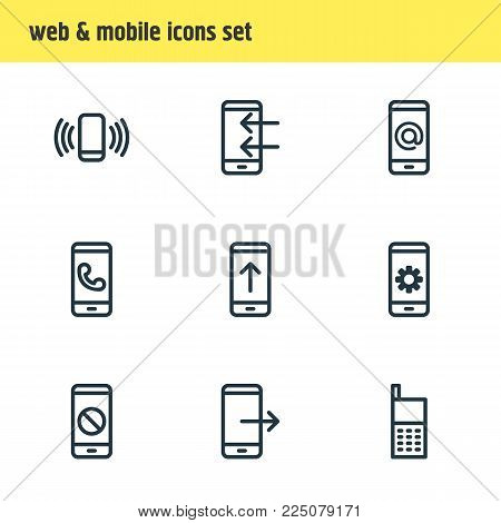 Vector illustration of 9 smartphone icons line style. Editable set of ring, ban, cogwheel and other icon elements.