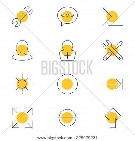Vector illustration of 12 interface icons line style. Editable set of remove, wide monitor, startup and other icon elements.