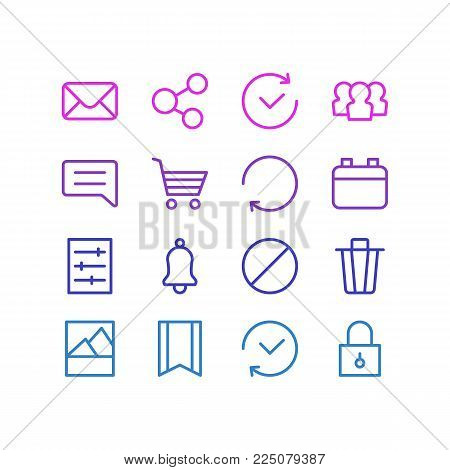 Vector illustration of 16 app icons line style. Editable set of bookmark, buying cart, comment and other icon elements.